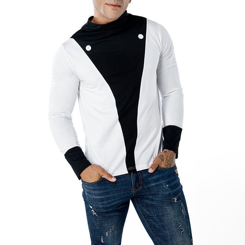 V word contrast color splicing  high collar casual long sleeve T-shirt