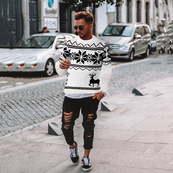 Fashion Geometric Printed Turtleneck Sweaters
