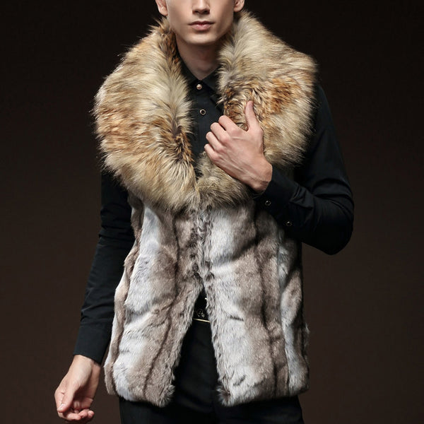 Temperament Fur Imitation Rabbit Fur Collar Overcoat