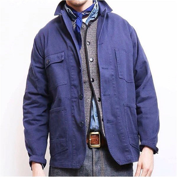 Men's Fashion Solid Color Lapel Long Sleeve Jacket
