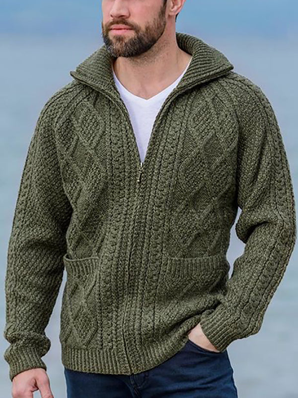 Man's Literary Turndown Collar Pure Colour Zipper Knitwear