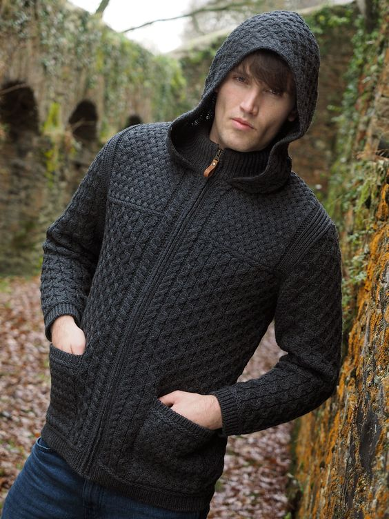CASUAL PURE COLOUR HOODED KNITWEAR