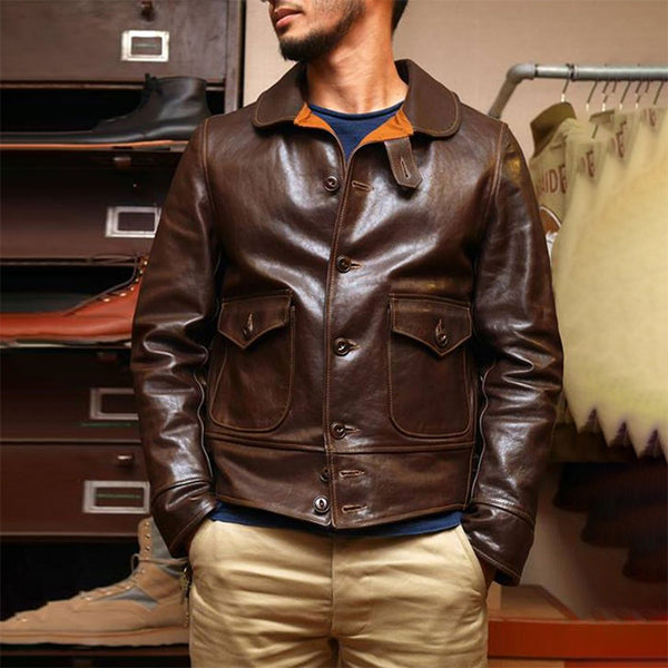 URBAN LEISURE TURNDOWN COLLAR PURE COLOUR LEATHER JCAKET