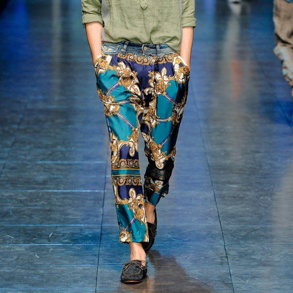 Fashion Single Button Printed Pocket Pants