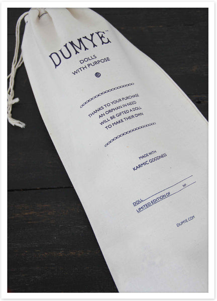 Each rag doll comes packed in an organic cotton sac with her name, edition & piece number