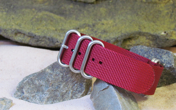The Burgundy XII Z5™ Nato Strap w/ Brushed Hardware (Stitched) 24mm