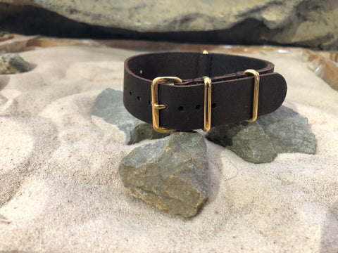 NEW - The Bison Leather Ballistic Strap w/ Gold Hardware (Stitched) 20mm