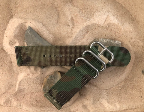 NEW - The Col. Braddock Z3™ Two-Piece Ballistic Nylon Strap w/ Brushed Hardware (Stitched) 20mm