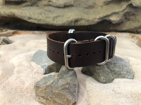 NEW - The El Dorado Z5™ Leather Ballistic Nylon Strap w/ Brushed Hardware (Stitched) 22mm
