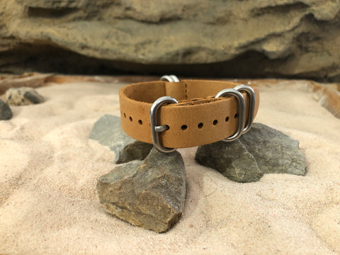 NEW - The Buck Z5™ Leather Ballistic Nylon Strap w/ Brushed Hardware (Stitched) 18mm