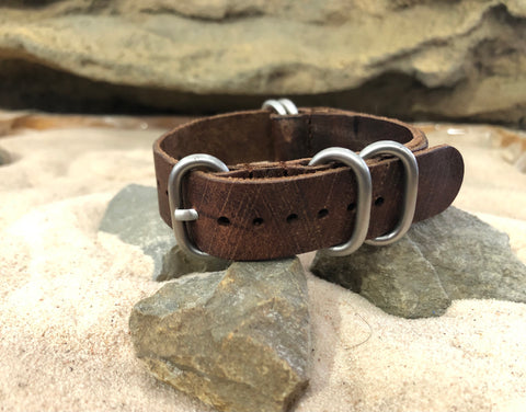 NEW - The Historic  Z5™ Leather Ballistic Nylon Strap  w/ Brushed Hardware 18mm