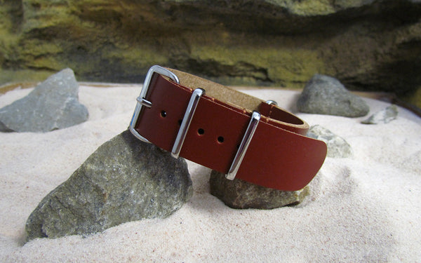 The Capone Leather Nato Strap w/ Polished Hardware (Stitched) 22mm