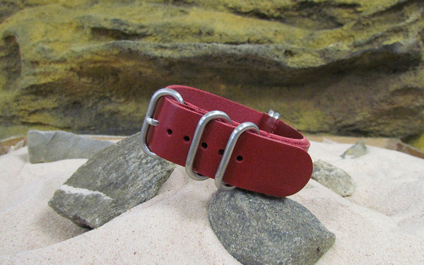 The Burgundy Z5™ Leather Nato Strap w/ Brushed Hardware (Stitched) 18mm