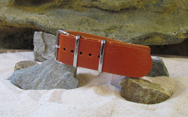 The Longhorn Leather NATO Strap w/ Polished Hardware (Stitched) 18mm