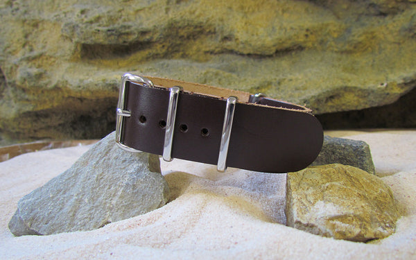 The Colt Leather Nato Strap w/ Polished Hardware (Stitched) 18mm