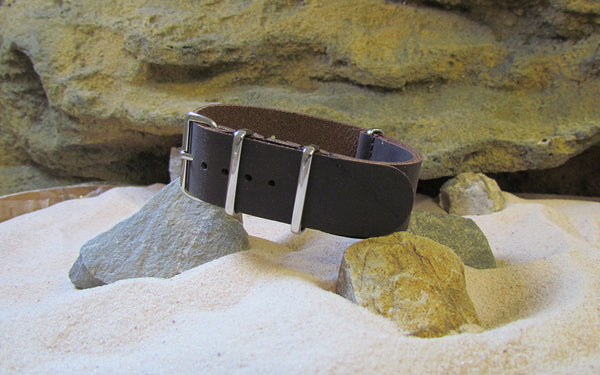The Deputy Leather NATO Strap w/ Polished Hardware (Stitched) 18mm