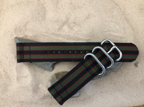 NEW - The MI6 Bond Z3™ Two-Piece Ballistic Nylon Strap w/ Brushed Hardware (Stitched) 22mm