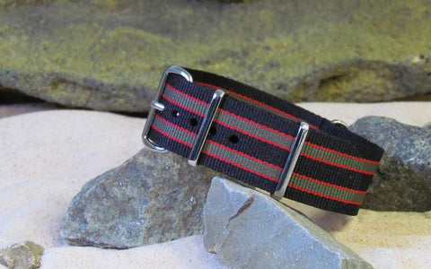 The MI6 Bond III NATO Strap w/ PVD Hardware (Stitched) 20mm