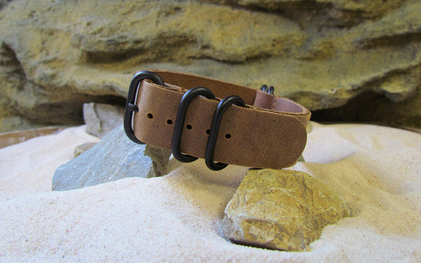 The Admiral Z5™ Leather Nato Strap w/ PVD Hardware (Stitched) 18mm