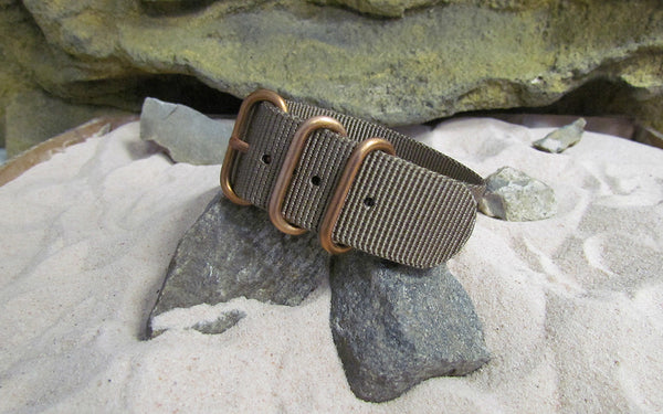 The Berenger Z3™ Nato Strap w/ BRONZE Hardware (Stitched) 20mm