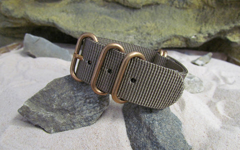 The Berenger Z5™ Nato Strap w/ BRONZE Hardware (Stitched) 22mm