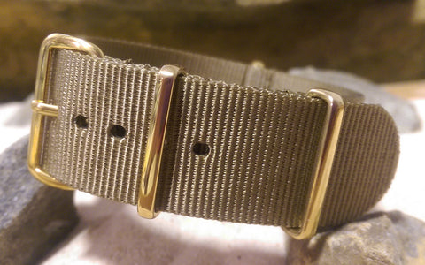 The Berenger Nato Strap w/ Gold Hardware (Stitched) 20mm