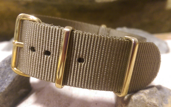 The Berenger NATO Strap w/ Gold Hardware (Stitched) 22mm