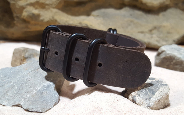 The Bison Z5™ Leather Nato Strap w/ PVD Hardware (Stitched) 24mm