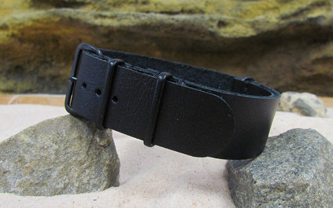 The Black-Ops Leather Nato Strap w/ PVD Hardware (Stitched) 18mm