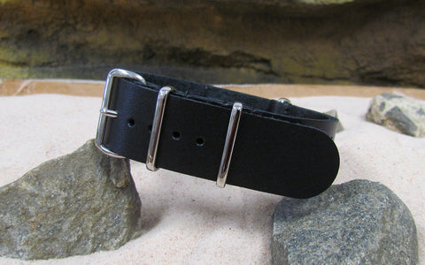 The Black-Ops Leather NATO Strap w/ Polished Hardware (Stitched) 22mm