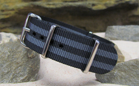 The Black-Ops II NATO Strap w/ Polished Hardware (Stitched) 18mm