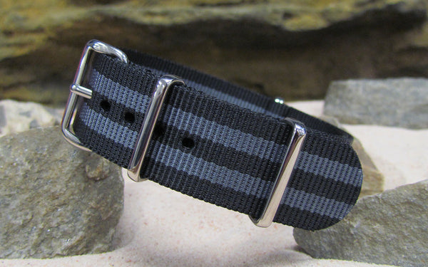 The Black-Ops II NATO Strap w/ Polished Hardware (Stitched) 28mm