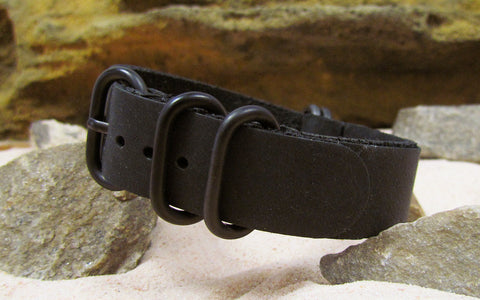 The Black Ops Grain Z5™ Leather Nato Strap w/ PVD Hardware (Stitched) 24mm