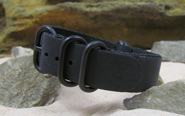 NEW - The Black-Ops Z5™ Leather Ballistic Nylon Strap w/ PVD Hardware (Stitched) 20mm