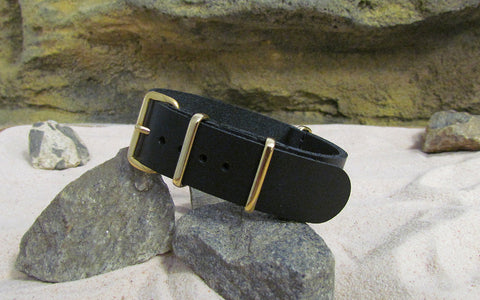 The Black-Ops Leather NATO Strap w/ Gold Hardware (Stitched) 18mm