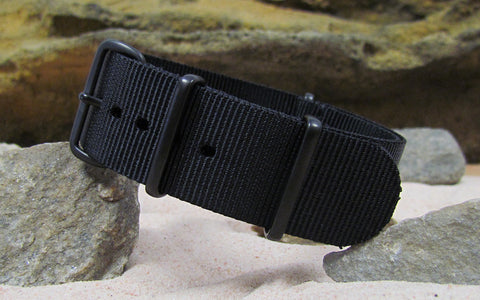 The Black-Ops Nato Strap w/ PVD Hardware (Stitched) 28mm