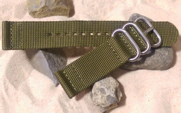 The Brigade Z3™ Two-Piece Nato Strap w/ Brushed Hardware (Stitched) 22mm