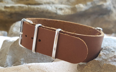 The Broom Leather NATO Strap w/ Polished Hardware (Stitched) 22mm