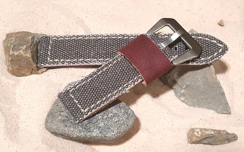 The Brown Military Style Canvas Watch Strap with Brushed Pre-V Buckle Hardware (Stitched) 20mm