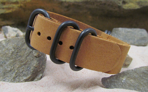 The Buck Z5™ Leather Nato Strap w/ PVD Hardware (Stitched) 18mm