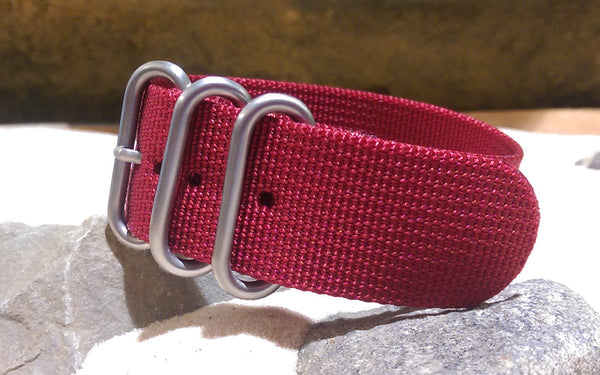 The Burgundy Z3™ Nato Strap w/ Brushed SS Hardware (Stitched) 18mm