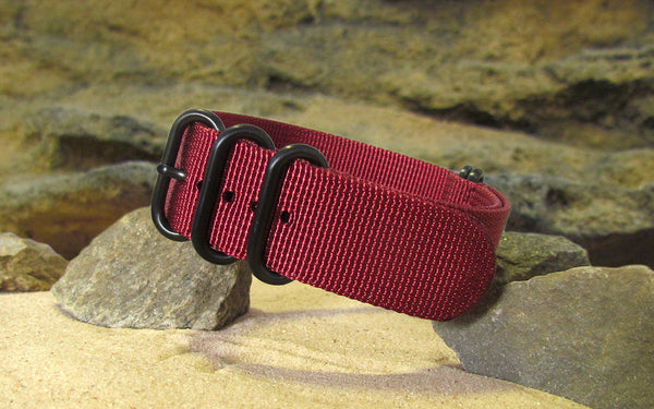 The Burgundy XII Z5™ Nato Strap w/ PVD Hardware (Stitched) 24mm