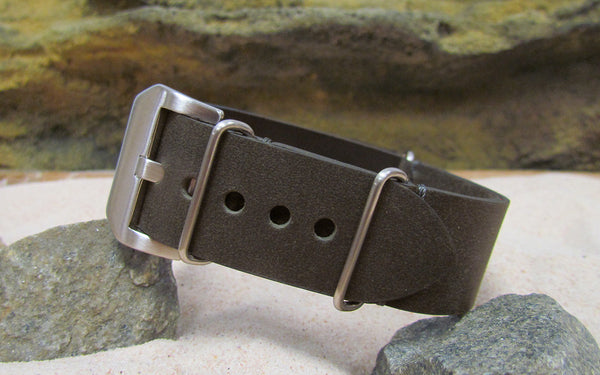 The Charcoal Loco Horse Genuine Vintage Leather Nato Strap w/ Brushed Pre-V Buckle Hardware (Stitched) 26mm