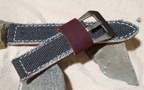 The Charcoal Military Style Canvas Watch Strap with Brushed Pre-V Buckle Hardware (Stitched) 20mm