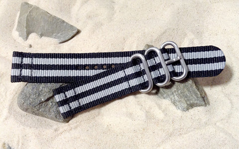The Classic Bond Z3™ Two-Piece Nato Strap w/ Brushed Hardware (Stitched) 22mm