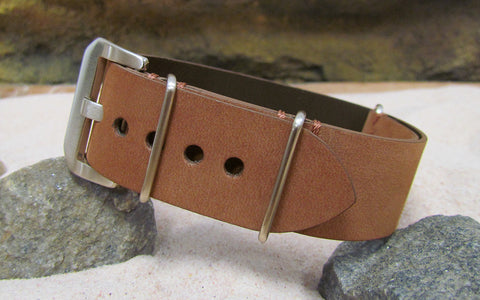 The Classic Brown Loco Horse Genuine Vintage Leather Nato Strap w/ Brushed Pre-V Buckle Hardware (Stitched) 24mm