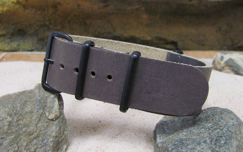 The Cowhide Leather Ballistic Strap w/ PVD Hardware (Stitched) 20mm