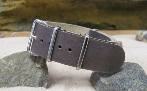 The Cowhide Leather Nato Strap w/ Polished Hardware (Stitched) 20mm