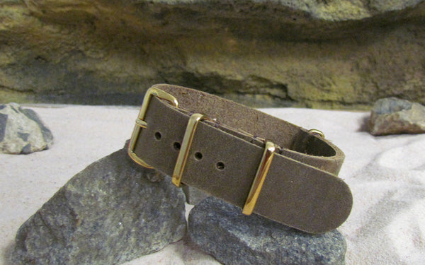 The Cowhide Leather Nato Strap w/ Gold Hardware (Stitched) 20mm