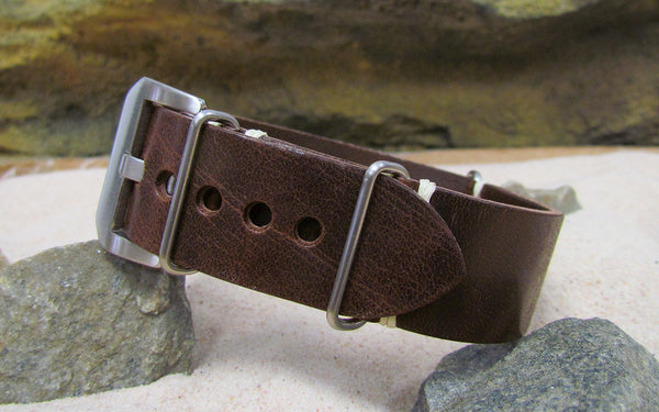 The Dark Brown Genuine Italian Leather Nato Strap w/ Brushed Pre-V Buckle Hardware (Stitched) 26mm